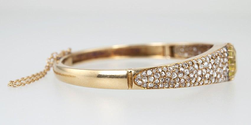 Victorian Citrine Diamond Bangle For Sale 1