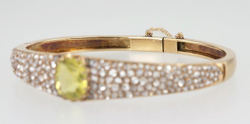 Victorian Citrine Diamond Bangle For Sale 2
