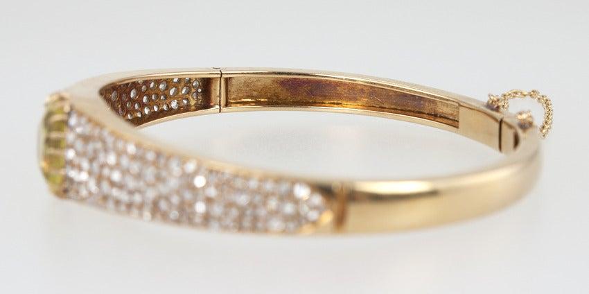 Victorian Citrine Diamond Bangle For Sale 3