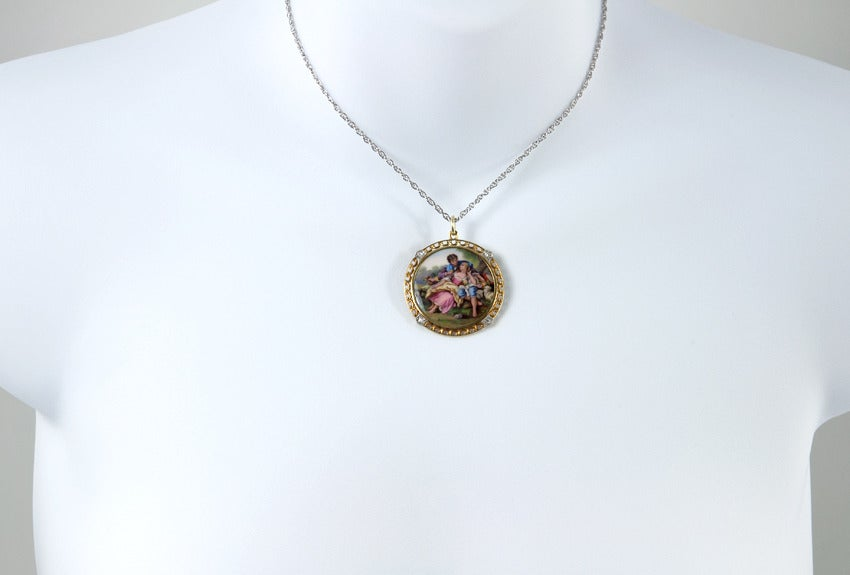 Victorian 1900 Tiffany & Co. Painted Scene Pendant For Sale