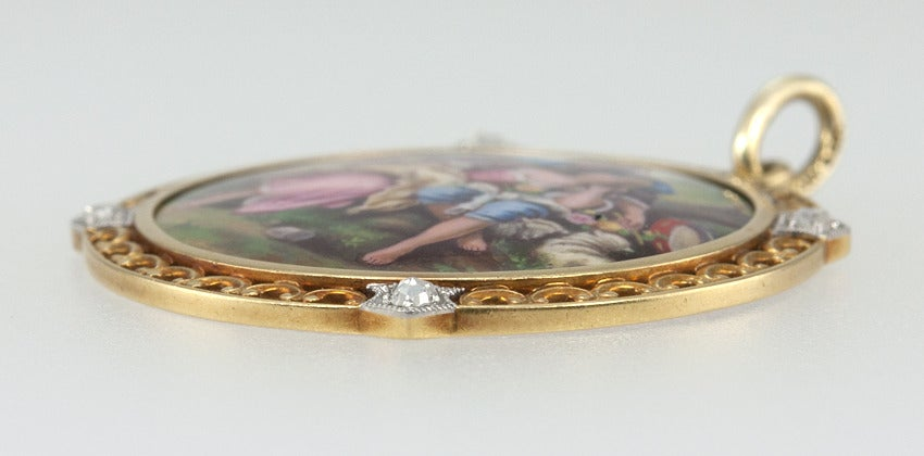 Women's 1900 Tiffany & Co. Painted Scene Pendant For Sale