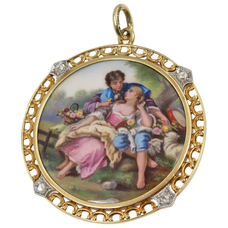 1900 Tiffany & Co. Painted Scene Pendant For Sale