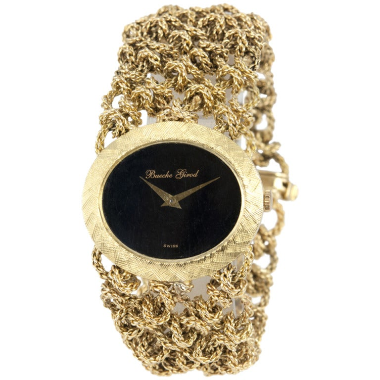 Bueche Girod Lady's Yellow Gold Bracelet Watch with Onyx Dial For Sale
