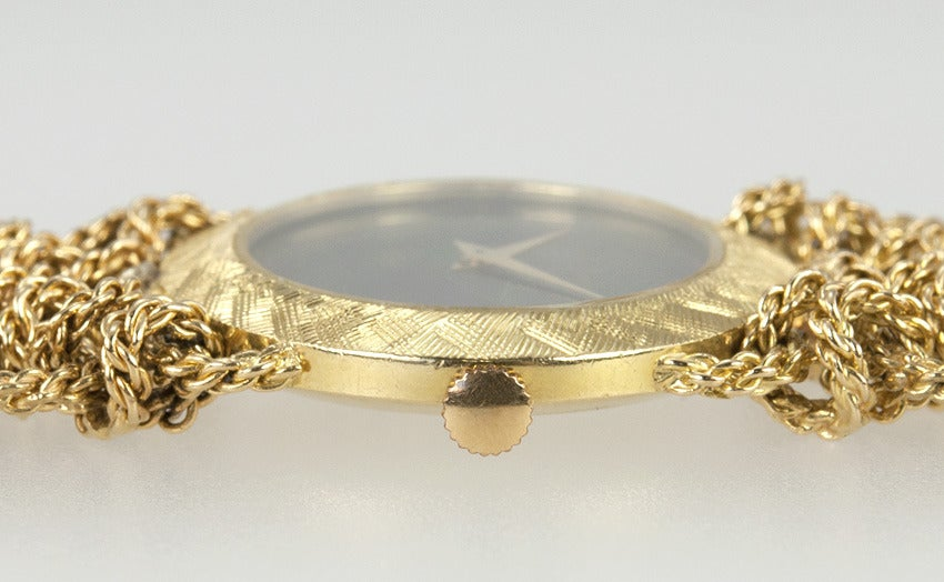 Bueche Girod Lady's Yellow Gold Bracelet Watch with Onyx Dial For Sale 1
