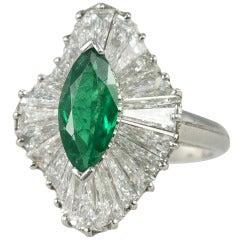 Oscar Heyman Emerald and Diamond Platinum Ballerina Ring