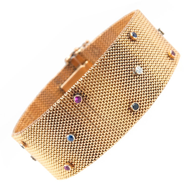 Victorian 18 Karat Yellow Gold Sapphire Ruby Diamond Mesh Bracelet