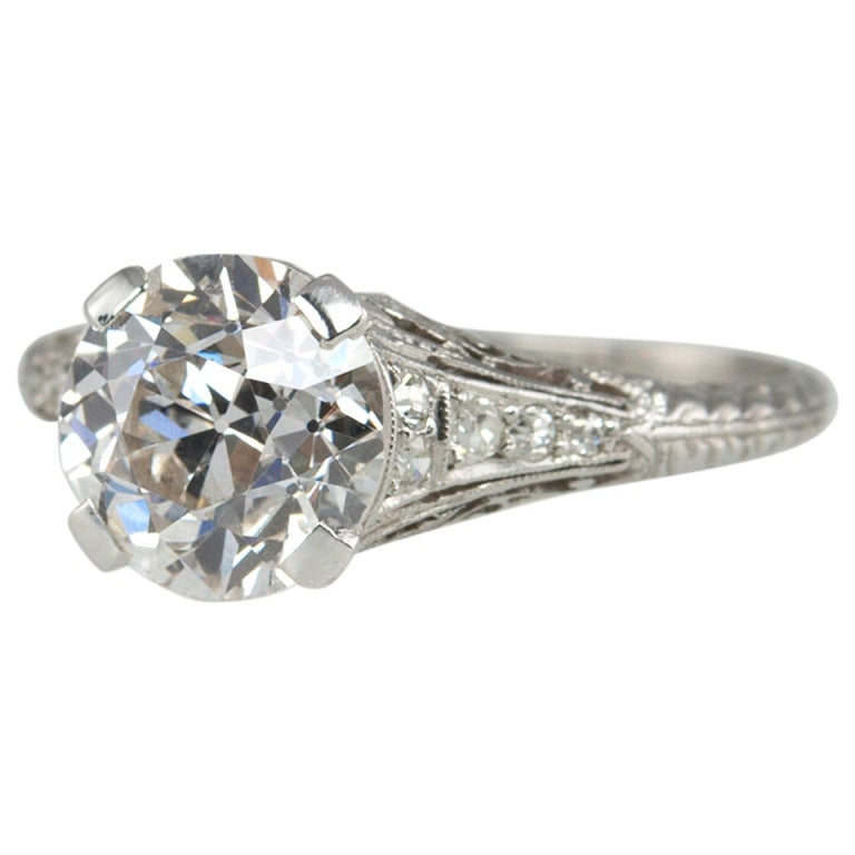 2.00 Carat Art Deco Engagement Ring For Sale