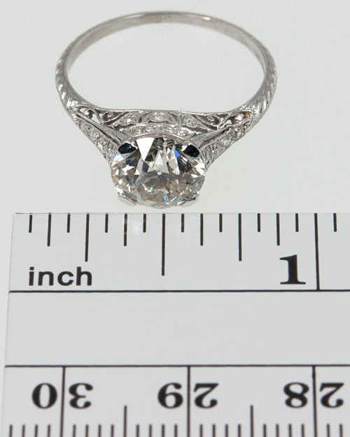 Gorgeous platinum Art Deco Engagement Ring with a 2.00 carat Old European Cut H-SI1 (EGL). Such a beautiful antique ring! Size 6 and easily altered.