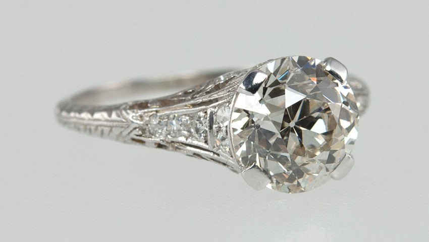 2.00 Carat Art Deco Engagement Ring 4
