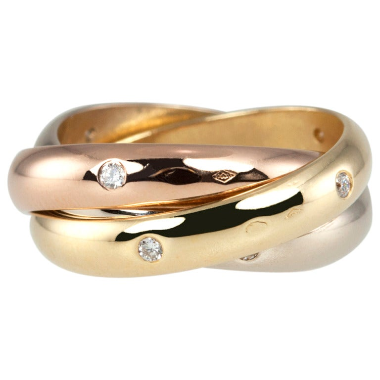 Cartier Trinity Wedding Ring: Cartier Trinity Ring With 15 Diamonds Size 52 At 1stdibs