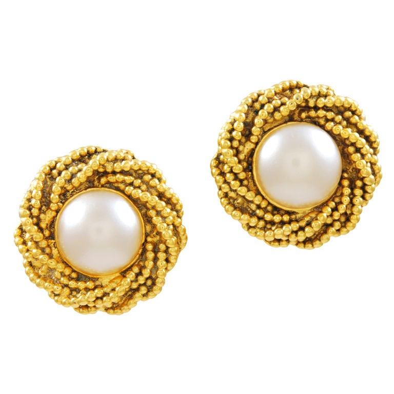 chanel pearl earrings at 1stdibs