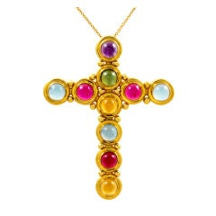 TIFFANY & CO PICASSO Colored Stone Large Cross Pendant