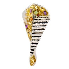 ERTE Design Art Palette Gemstone Filled Brooch
