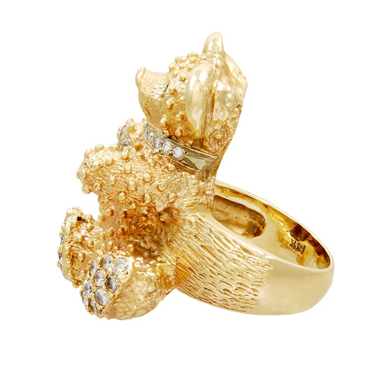 Bear In Hing Reng 2: ADORABLE Gold Teddy Bear Ring With Diamonds And Emeralds