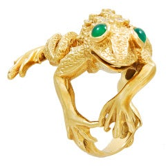 KURT WAYNE Gold, Diamond, Chrysophrase Frog Ring