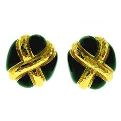 ANDREW  CLUNN  Black  Enamel  Gold  Earrings