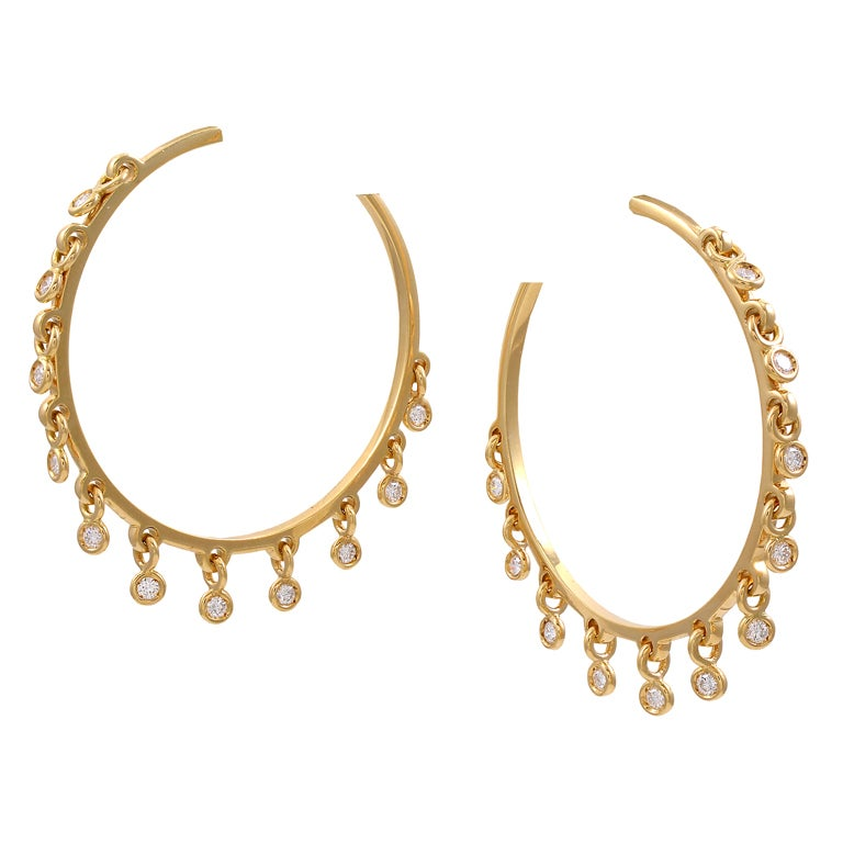 Christian Dior Diamond Dangle Hoop Earrings At 1stdibs