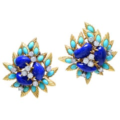 Fabulous Lapis, Turquoise and Diamond Ear Clips thumbnail 1