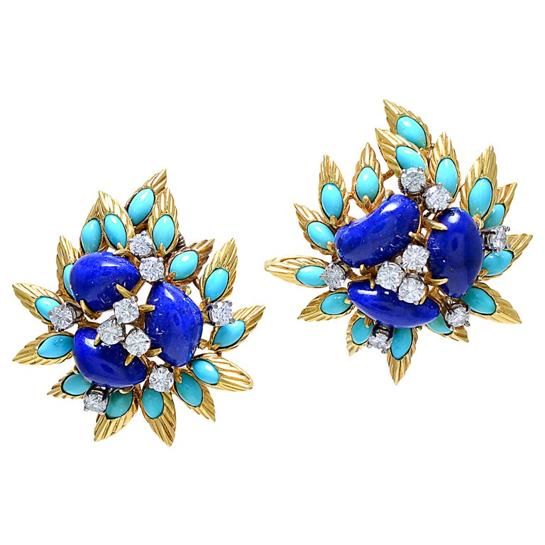 Fabulous Lapis, Turquoise and Diamond Ear Clips