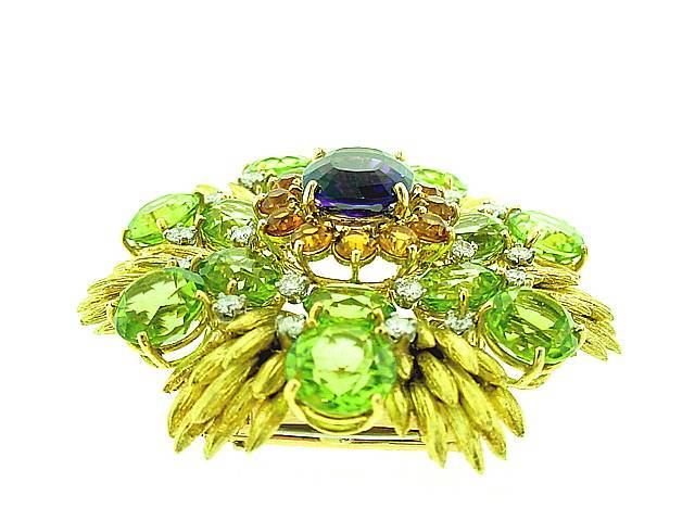 Retro  CARTIER   Peridot   Diamond  Amethyst   Brooch image 2