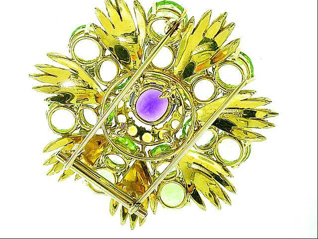 Retro  CARTIER   Peridot   Diamond  Amethyst   Brooch image 3