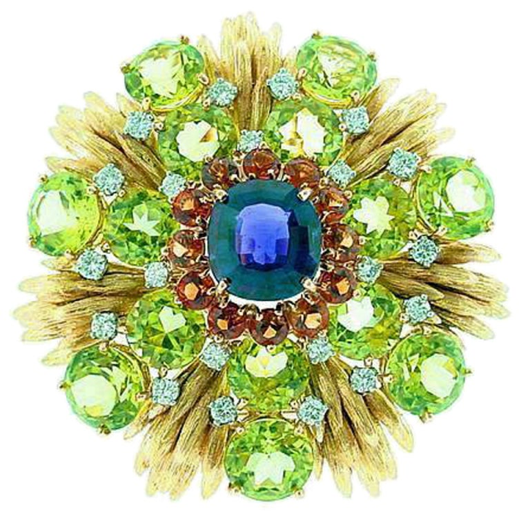 Retro  CARTIER   Peridot   Diamond  Amethyst   Brooch