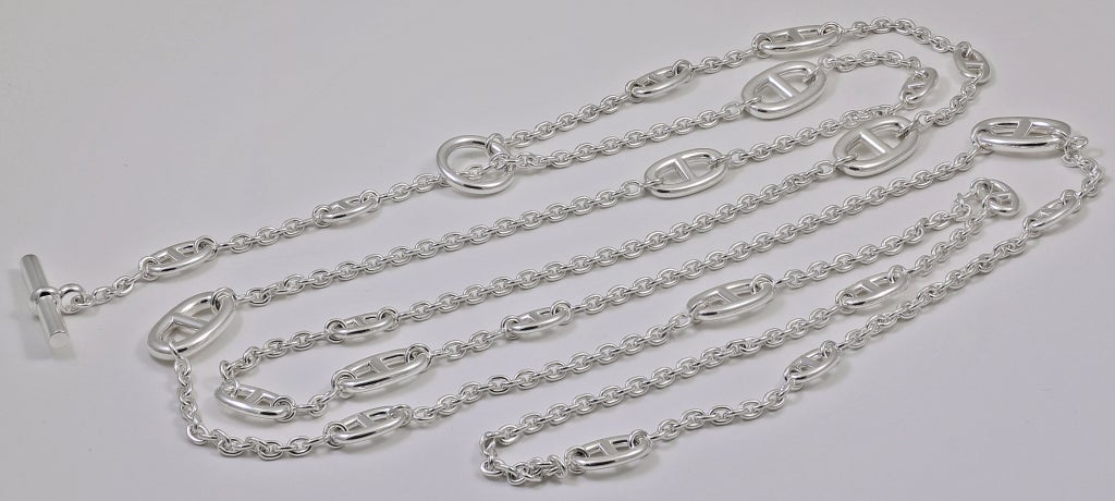 "HERMES Silver 63"" Chain 2"