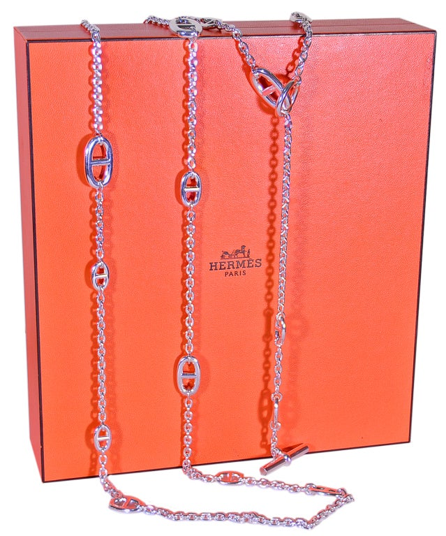 "HERMES Silver 63"" Chain 3"