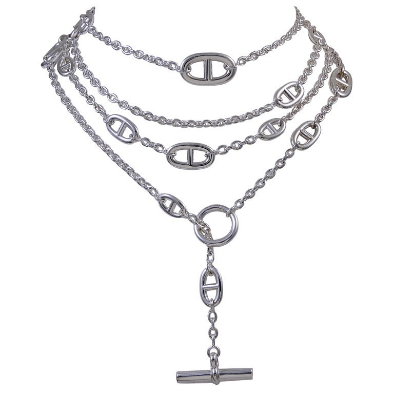 "HERMES Silver 63"" Chain 1"