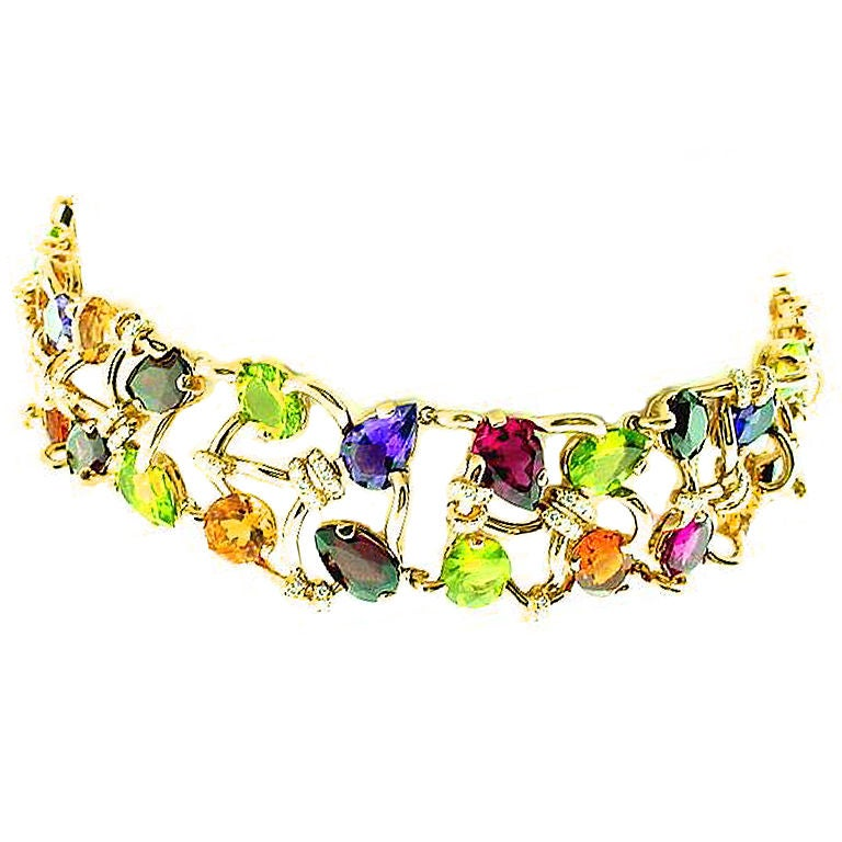 Chanel Multi Gem Gold Choker necklace