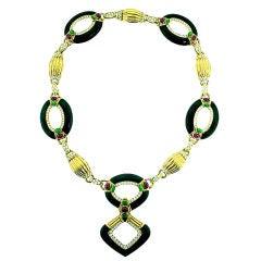 Dazzling Onyx Diamond Necklace