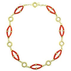 CARTIER  Coral  Diamond  Necklace