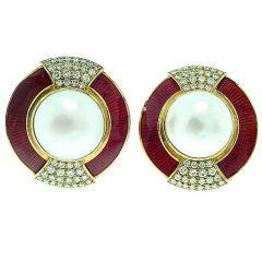 Leo de Vroomen Enamel Pearl Diamond Earrings