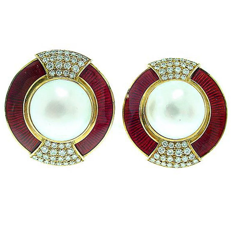 Leo de Vroomen Enamel Pearl Diamond Earrings