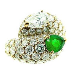CARTIER  Diamond  Emerald  Bypass  Ring