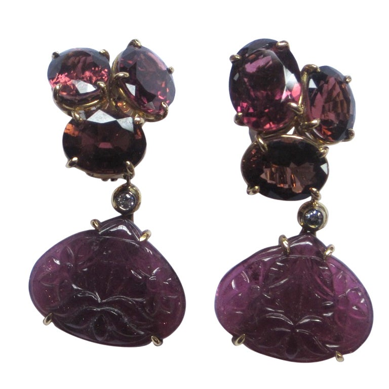 Sorab and roshi triple pink tourmaline drop earrings at for Triple j fine jewelry