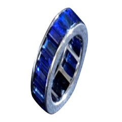 Fine Sapphire and Wide Platinum Band