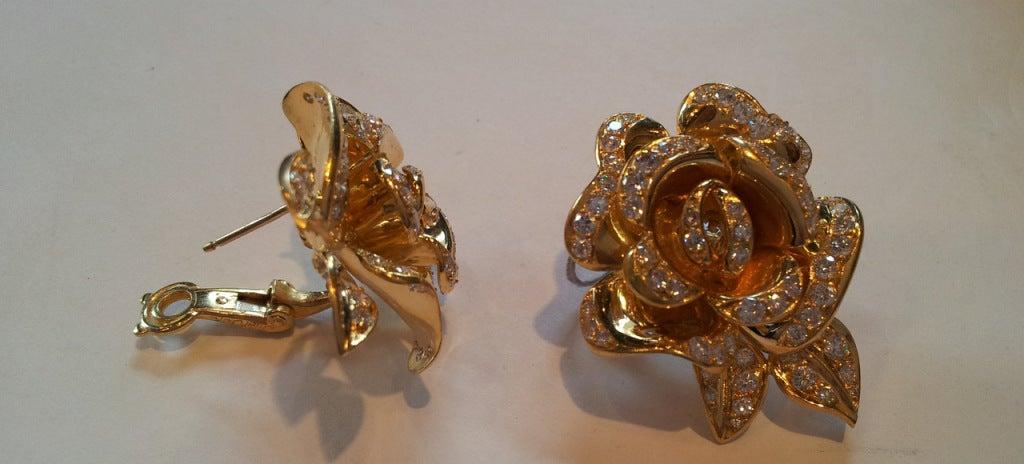 Marchak Diamond Gold Rose Flower Earrings 2