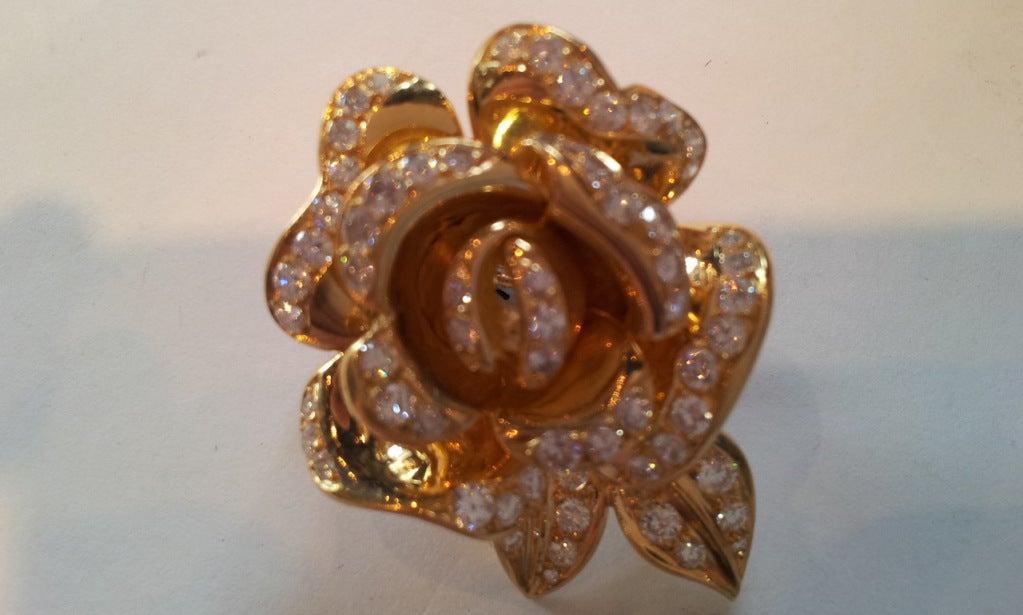 Marchak Diamond Gold Rose Flower Earrings 3