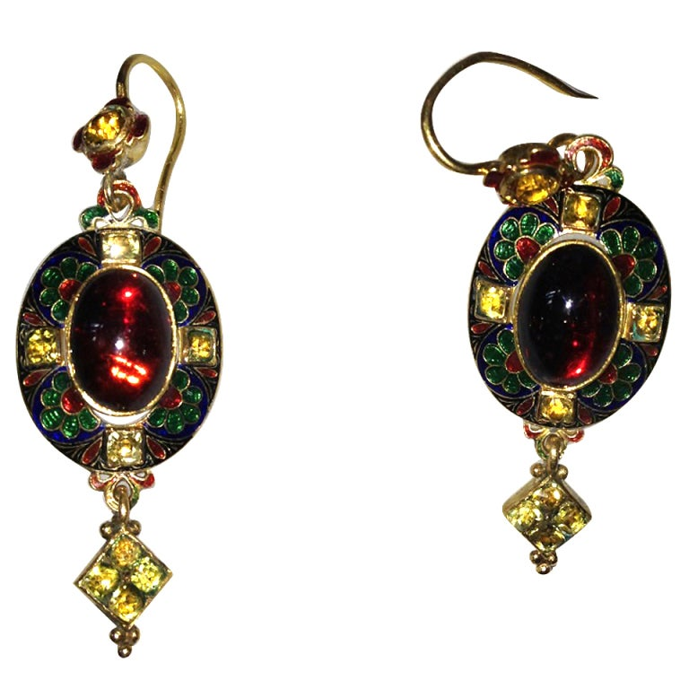 Renaissance revival pendant  earrings For Sale