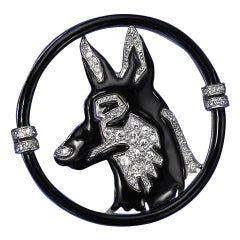 Black Starr & Frost Art Deco Enamel Diamond Platinum Dog Brooch