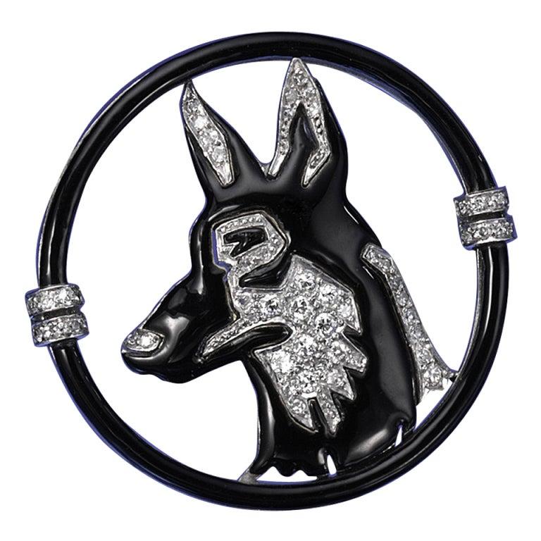 Black Starr & Frost Art Deco Enamel Diamond Platinum Dog Brooch
