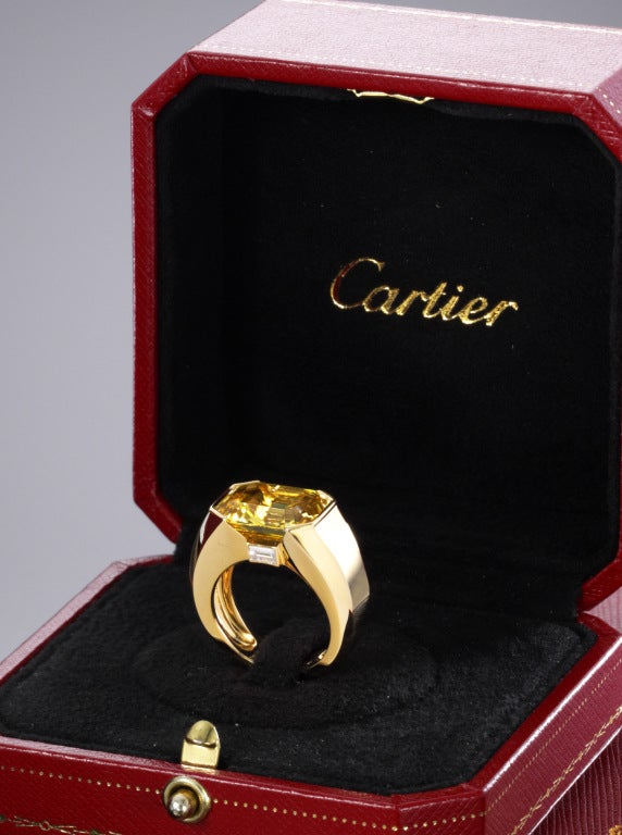 Cartier yellow sapphire and diamond ring image 2