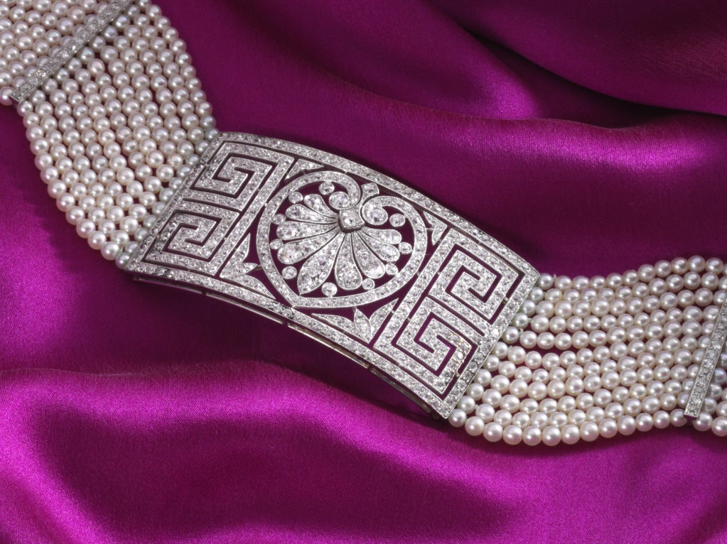 Edwardian natural pearl and diaond collar, c. 1900 2