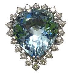 Large aquamarine and diamond ring