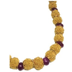 Unusual Pure Gold Bead  Ruby Necklace