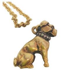 French Diamond Gold Dog Pendant, Circa 1900
