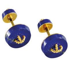 Lapis Gold Button Cufflinks