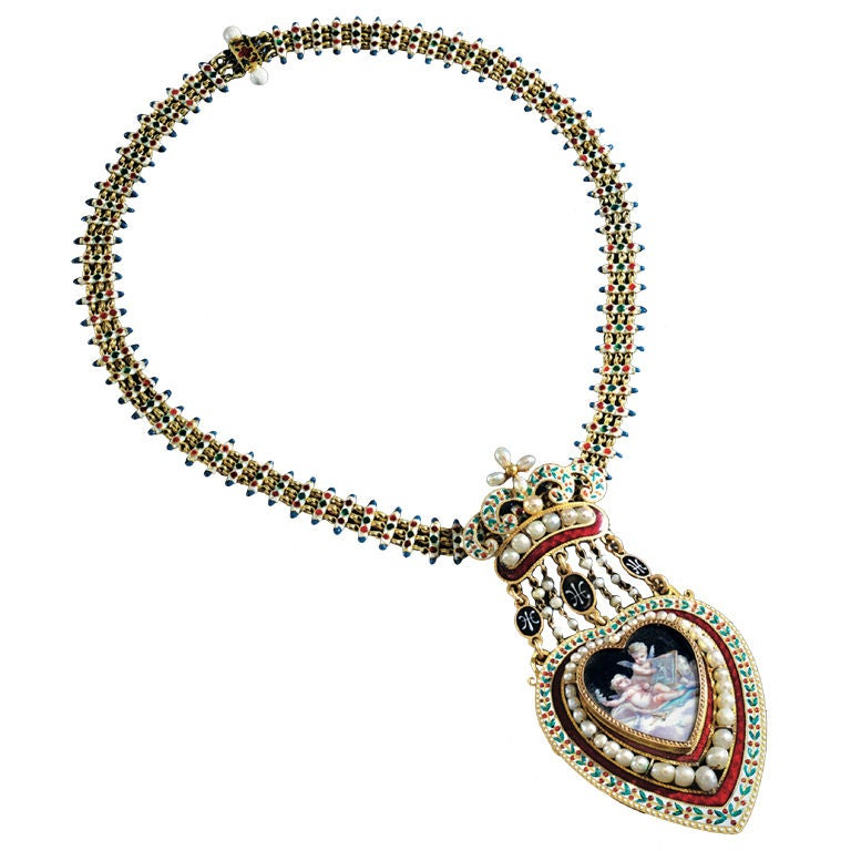 Victorian Fine Enamel Natural Pearl Gold Necklace At 1stdibs