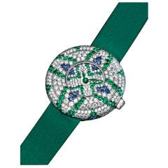 "Exquisite Emerald Sapphire and Diamond ""Lady Bird"" Wristwatch"